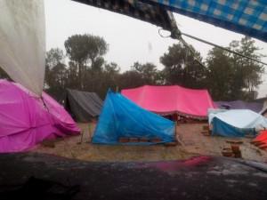 Under a tarp